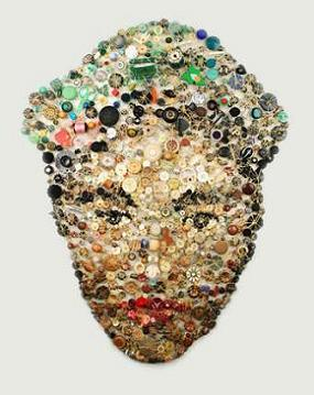 Recycled Button Portrait